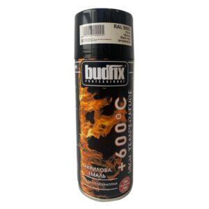 Аэрозольная краска, черная BUDFIX RAL 9005 400 мл высокотемпературная